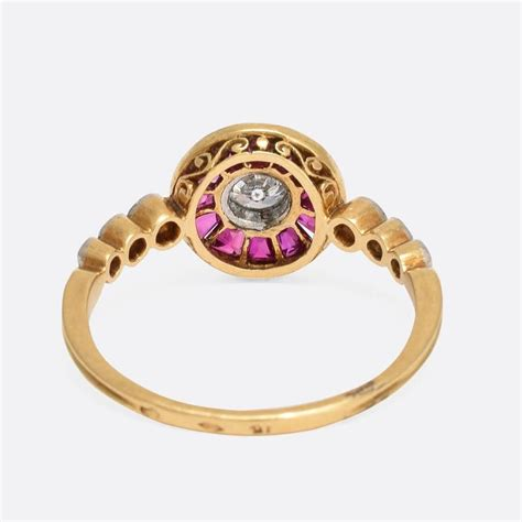 Gold L Target by Deco Ruby Gold Target Ring At 1stdibs