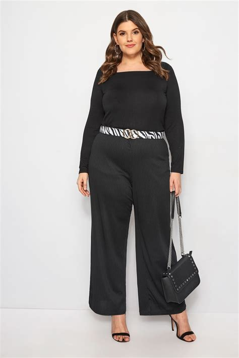 limited out 3 days in row limited collection black ribbed wide leg trousers plus