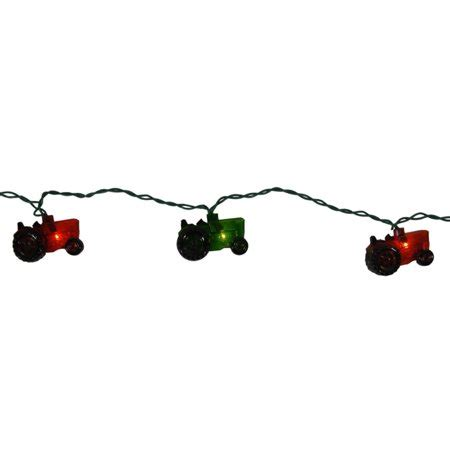 tractor christmas tree lights set of 10 and green farm tractor novelty lights green wire walmart