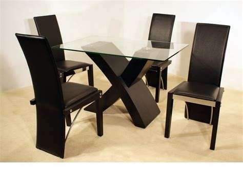 Small Black Dining Table And 4 Chairs Ash Black Small Clear Glass Dining Table And 4 Chairs Homegenies