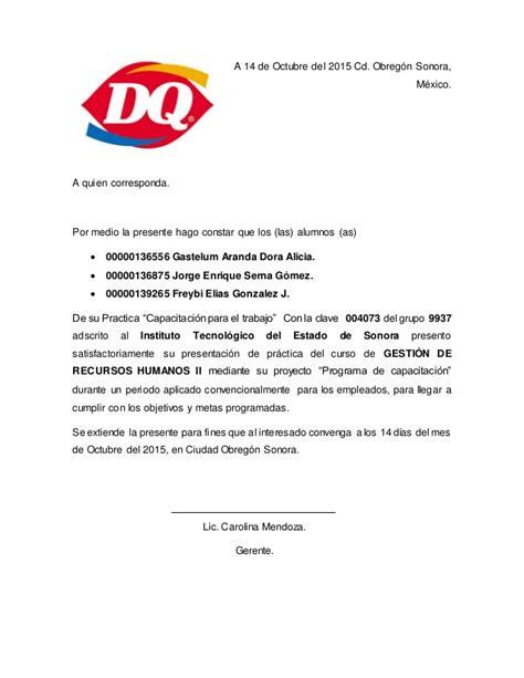 carta de presentacion de propuesta de capacitacion programa de capacitaci 243 n carta descriptiva