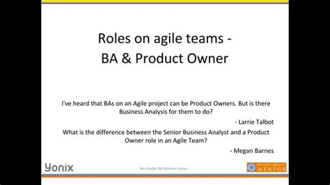 Ba Roles And Responsibilities by The Of A Ba In Large Agile Environments June 2014