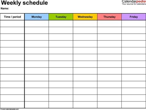 5 day week calendar template 25 best ideas about schedule templates on