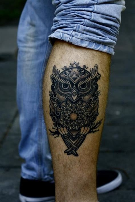 cool calf tattoos for men cool owl tattoos for leg 31 fashion