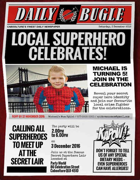 superhero newspaper invitation template 45 printable