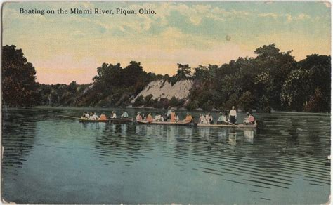 ebay boats ohio 1913 piqua ohio postcard boating on the miami river people