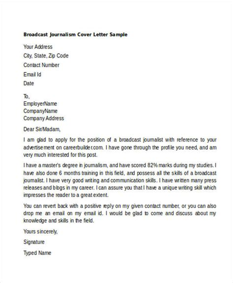 Journalist Resume Cover Letter by Sle Cover Letter Broadcast Journalism