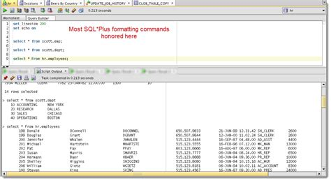 display oracle sql output rows on one single line running multiple queries in oracle sql developer