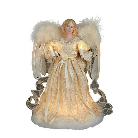 motorized angel tree topper wings head and arms move kurt adler 10 light 12 quot ivory w feather wings tree topper decoration ebay