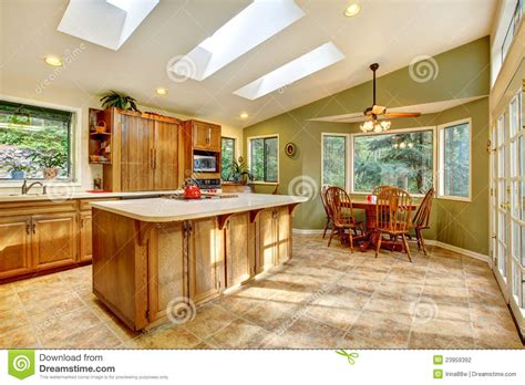 House Design Inside Simple large country kitchen with skylights stock photo image