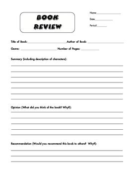 Blank Book Review Form By Essential English Stores Tpt Book Critique Template
