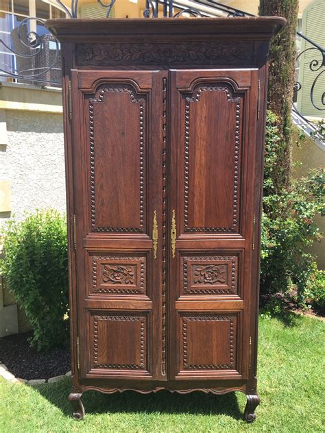 antique french normandy bedroom armoire  oak large