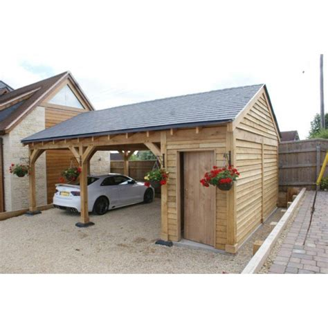 Car Port Pl by 2 Bay Carport With 1 2 Bay Store Post Beam Green Oak