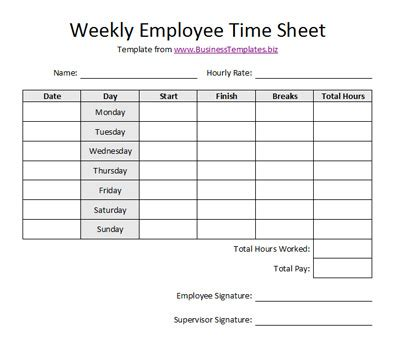 Employee Time Card Template Free Weekly by Printable Weekly Time Sheets