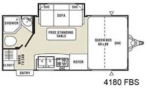 Coachmen m series small travel trailer floorplan 4180 fbs with slide