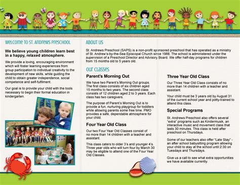 sample flyers for marketing st andrews preschool trifold brochure