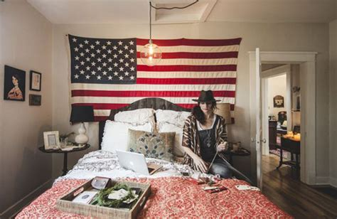 american bedroom decor college room with american flag display home design