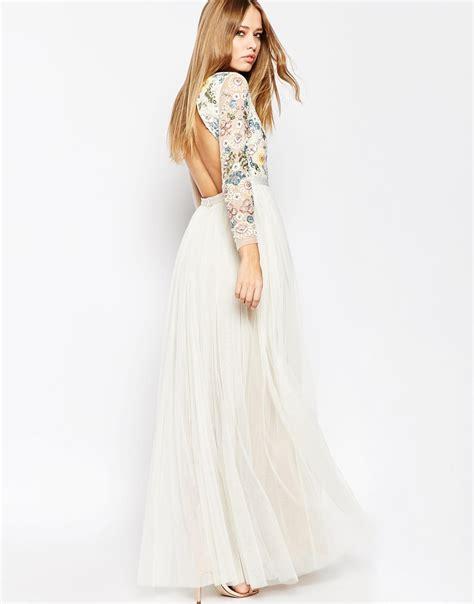 Embellished Sleeve Dress needle thread backless sheer sleeve tulle embellished