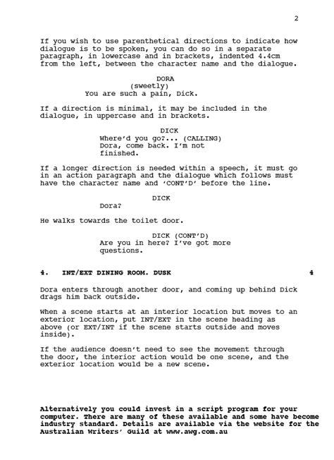 script format template script format