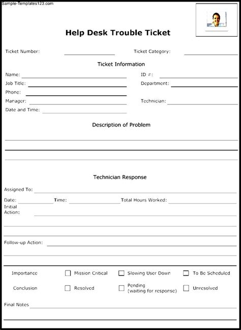 Template Help help desk trouble ticket template sle templates