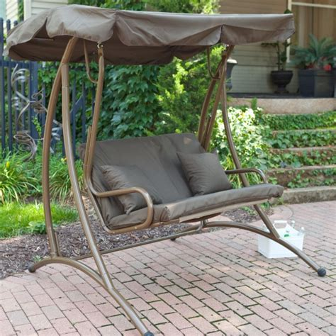 fabric porch swing exterior varnished oak wood lawn swing decor with dark