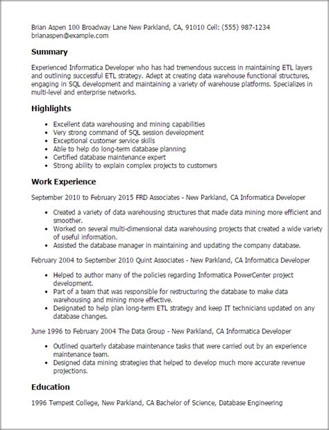 Informatica Resume professional informatica developer templates to showcase