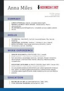 Best Resume Writers 2017 by Resume Format 2017 16 Free To Download Word Templates