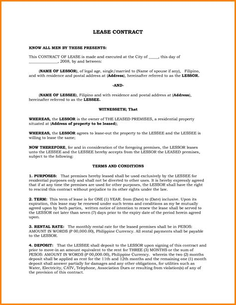 template of lease agreement lease contract template philippines templates resume
