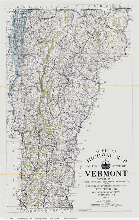 printable vermont road map large detailed old highway map of the state of vermont