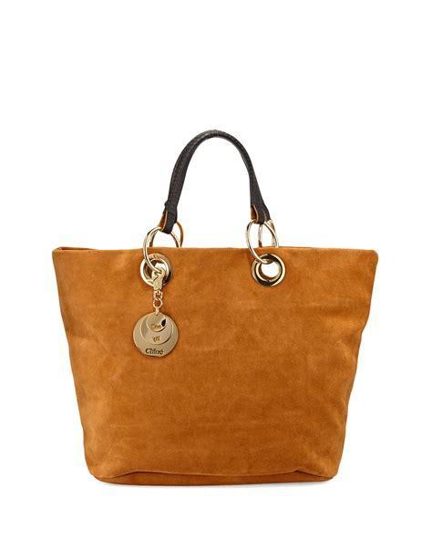 J H Cloe Tote Bag see by chlo 233 summer suede tote bag in brown warm sand lyst