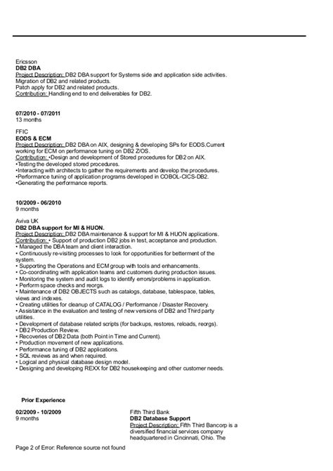 Dba Resume by Resume Db2 Dba Mainframe