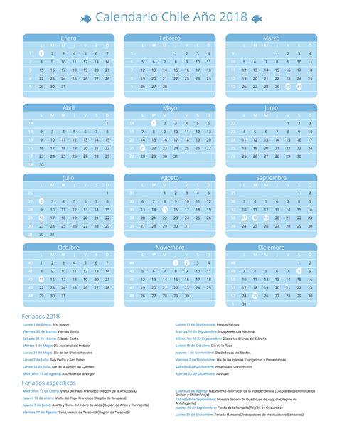 Chile Calend 2018 Calendario Chile A 241 O 2018 Feriados