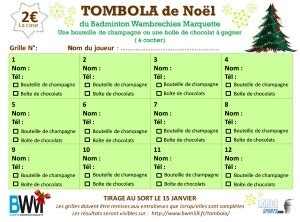 Grille De Tombola by Tombola Badminton Wambrechies Marquette