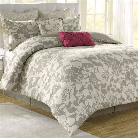 Flowered Comforters by Modern Peony Floral 8 Pc Comforter Bed Set