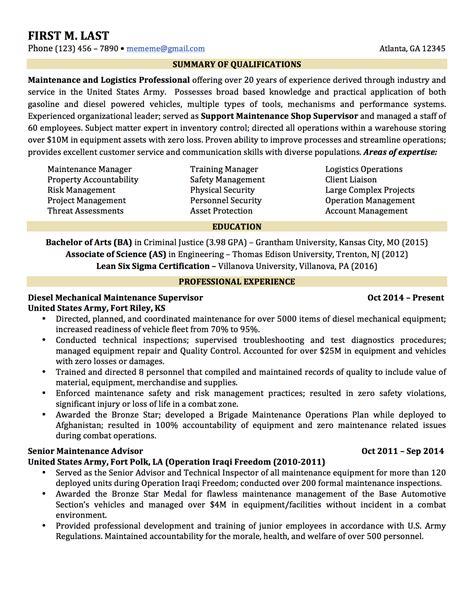 Military To Civilian Resume Sample – Example Resume: Navy Cv Example