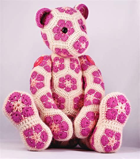 crochet pattern african flower lollo the african flower hexagon teddy bear by heidibears