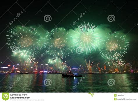 new year fireworks hong kong time hong kong new year fireworks editorial image