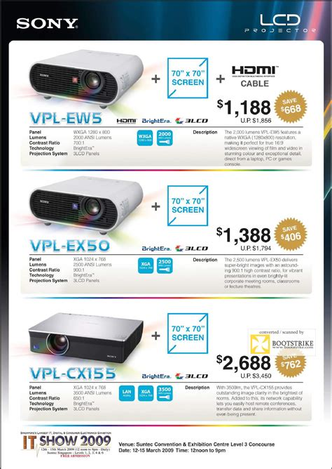 Projector L Price List sony lcd projectors 2 it show 2009 price list brochure