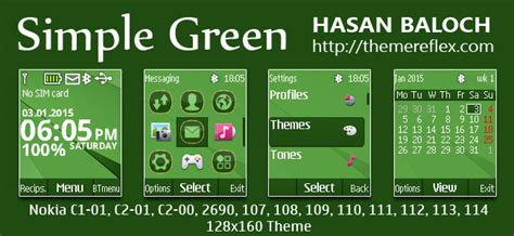 nokia 2690 battery meter themes simple green theme for nokia c1 01 c1 02 c2 00 107 108