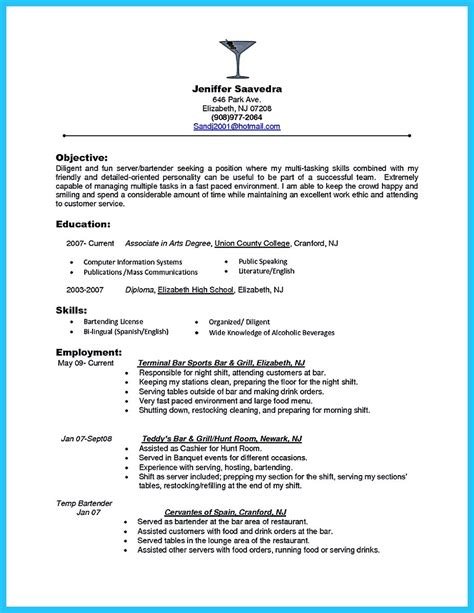 Impressive Resume Sample by Bartender Resume Skills Template Resume Builder