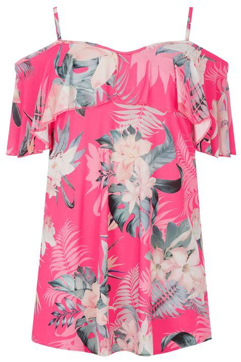 Shoulder Floral Print Top pink tropical floral print cold shoulder top plus size 16