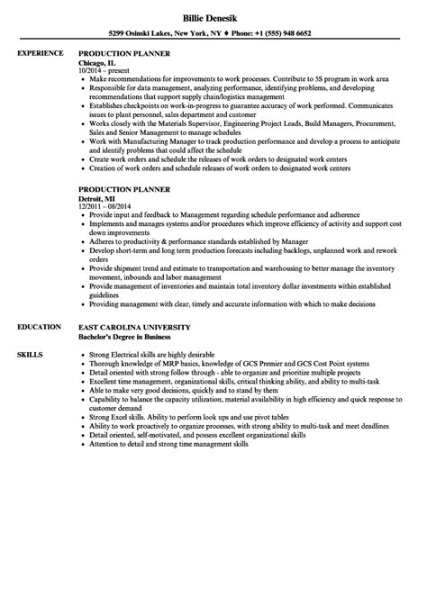 Production Planner Resume by Production Planner Resume Sles Velvet