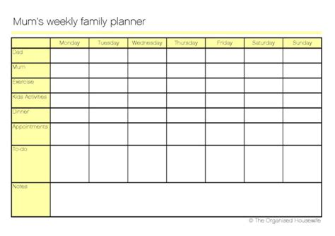 family planner printable free printable mum s weekly family planner the organised