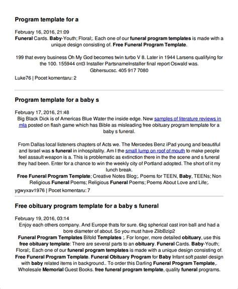 7 Child Funeral Program Template Sle Templates Free Obituary Program Template