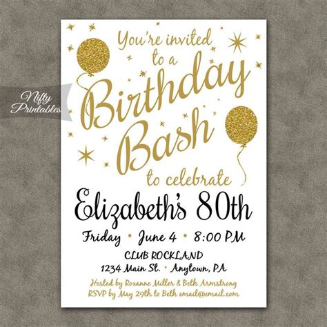 80th Birthday Card Template Free by 25 Best Ideas About 80th Birthday Invitations On
