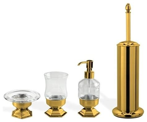 4 gold free standing accessory set contemporary