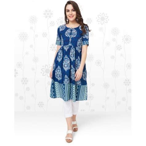 Sales Picks All Saints Half Price Frocks by Buy Anmi Blue Printed Frock Style Kurti Looksgud In