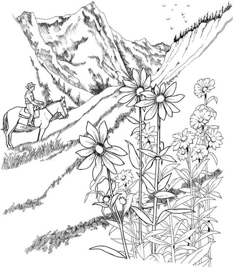coloring pages for adults landscapes landscape coloring page