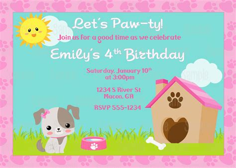 printable puppy birthday decorations printable puppy dog birthday party invitation plus free blank