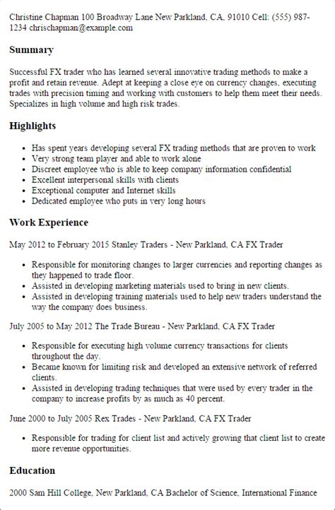 cover letter sle for and gas company day trader resume day trader resume exle proprietary